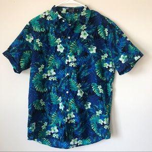 Men's Button Down Floral Blue Hawaiian Shirt